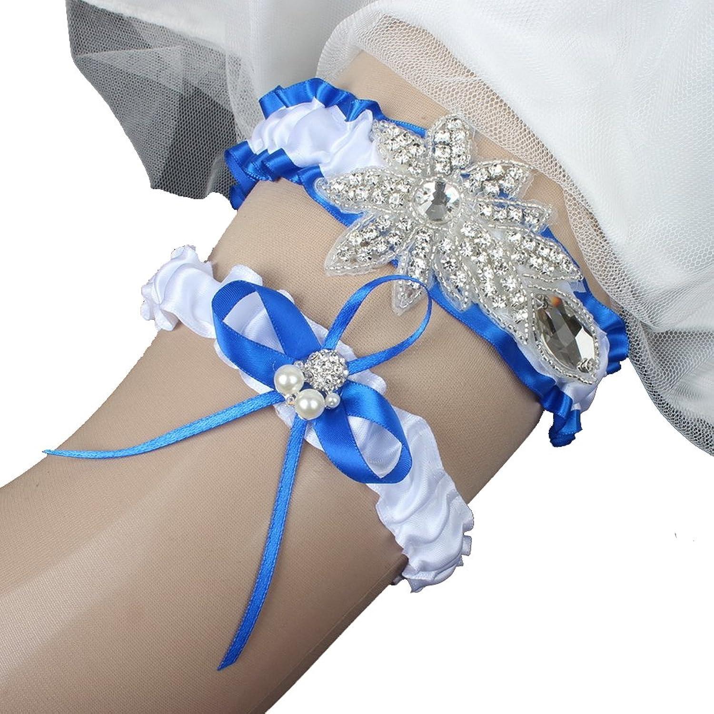 LMIKELING Royal bluee Wedding Garter Pearl Rhinestone Bow Ribbon Bridal Garter Set