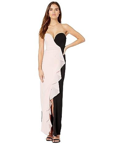 Nicole Miller Strapless Ruffle Gown (Peach Daquari/Black) Women