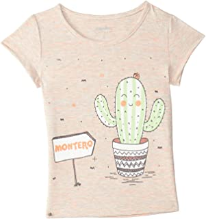 Montero Cactus Print Front Logo Short Sleeves Round Neck T-shirt for Girls
