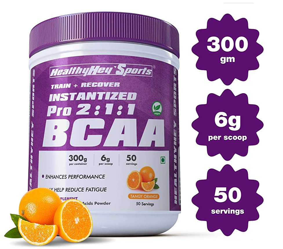 HealthyHey Sports 2:1:1 Branched Chain Amino Acids, Bcaas, Tangy Orange Bcaa Powder (50 Servings)