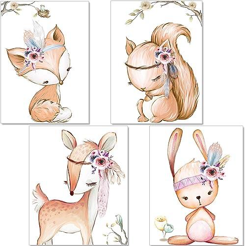 artpin® Set de 4 Affiches pour Chambre d'enfant- decoration chambre fille - posters de bébé Fille - Animaux de la for...