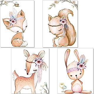 artpin® Set de 4 Affiches pour Chambre d'enfant- decoration chambre fille - posters de bébé Fille - Animaux de la forêt dé...