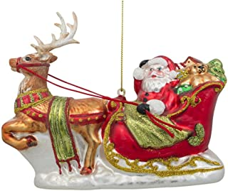 BestPysanky Santa on Sleigh with Reindeer Blown Glass Christmas Ornament 5.7 Inches