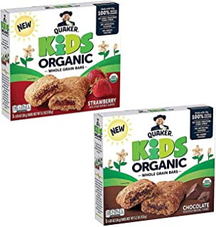 Quaker Kids Organic Multigrain Bars, Variety Pack, USDA Certified Organic (5 Count of 1.05 oz Bars), 5.2 oz, Pack of 4