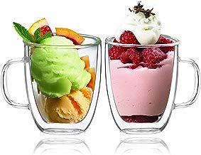 BOQO Tazas de Vidrio Doble Pared, Taza de Cristal con Mango,400ml Juego de 2