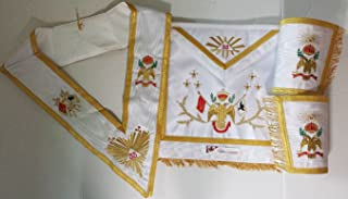 Masonic Regalia 33rd Degree A.A.S.R Set Apron,Collar & Gauntlets Wing Down