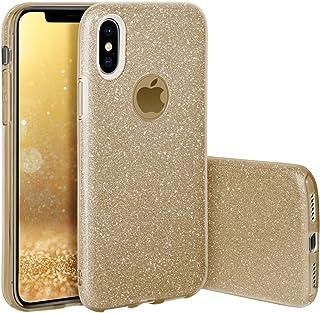 Qult Carcasa para Móvil Compatible con Funda iPhone XS MAX Brillante Silicona Dura Bumper Teléfono Brillar Purpurina Gold Caso para iPhone XS MAX Oro
