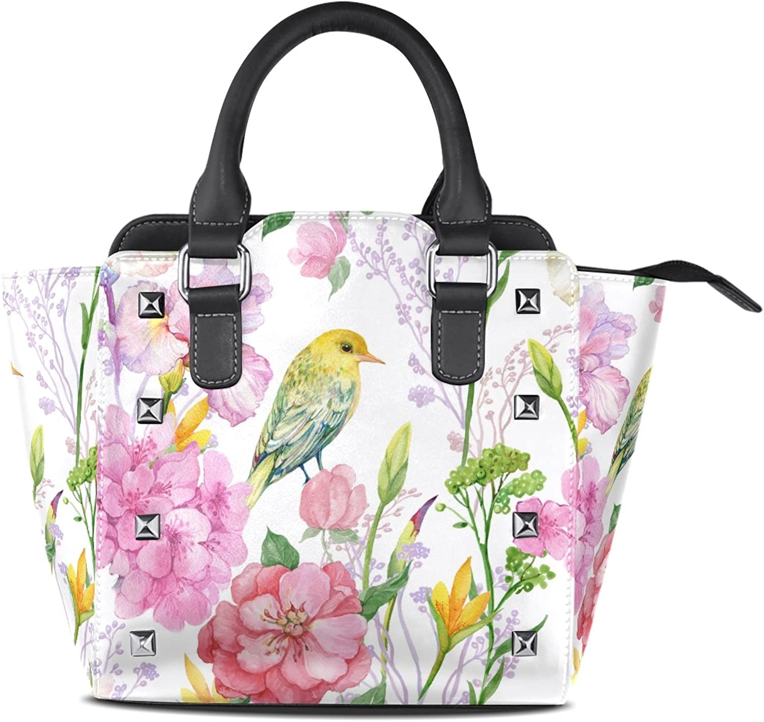 My Little Nest Women's Top Handle Satchel Handbag Watercolor Branches Flowers Bird Ladies PU Leather Shoulder Bag Crossbody Bag