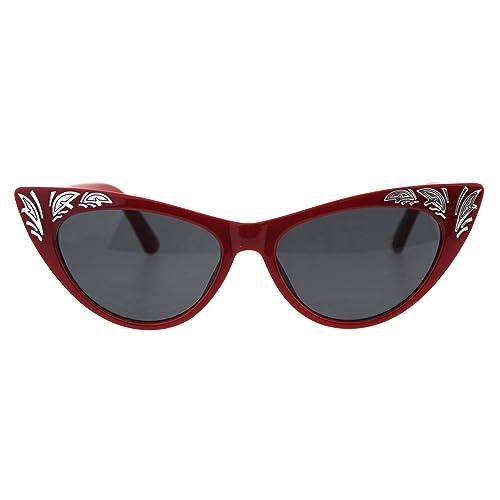 5bf332c81122 Womens Cat Eye Gothic Bling Engraving Diva Sunglasses
