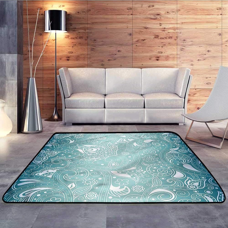 Carpet mat,Aqua,Retro Design Tribal FloralW 47  x L59 Floor Mat Entrance Doormat