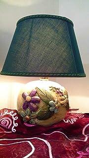 Le Ceramiche Del Re - Lampada Ceramica da Tavolo - Lampada D'Arredo Decorata con Fiori - H 37CM
