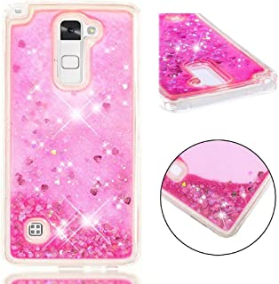 LG K8 K7 Phoninx2 Escape3 K350 K371/K7/X210 MS330 Tribute 5 LS675 Liquid Case, Flowing Moving Heart Sand Glitter Cover, HUZIGE Clear Soft TPU Protect Thin Slim Phone Light Case for LG K8 K7 Pink
