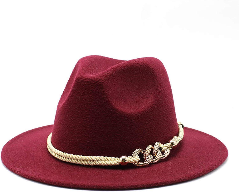 BAJIE Fedora Black/White Wide Brim Simple Church Hat Solid Felt Fedora Hat For Men And Women Jazz Hat