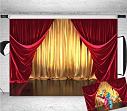 Qian 7x5FT Vinyl 3D Rendering Theater Stage Theme Photography Backdrops Golden and Red Curtains Photo Studio Props Vinyl Background for Wedding Birthday Party Decoration Banner