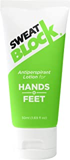 SweatBlock Antiperspirant Lotion for Hands & Feet, Proven to Reduce Excessive Sweating, Reduce Hand & Foot Sweat & Smelly Feet, Safe Effective, FDA Compliant Anti Sweat Lotion for Women & Men, 50mL