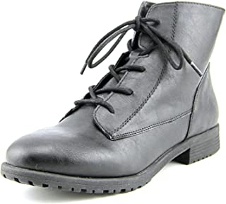 Style & Co. Womens Qwinn Leather Round Toe Ankle Combat Boots, Black, Size 8.5