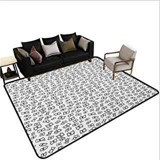Money Stair Carpet Sketch Style Monochrome Raining Dollar Bills Cash Money Flying Bank Notes Design Area Outdoor Rugs Black White 5'x8'