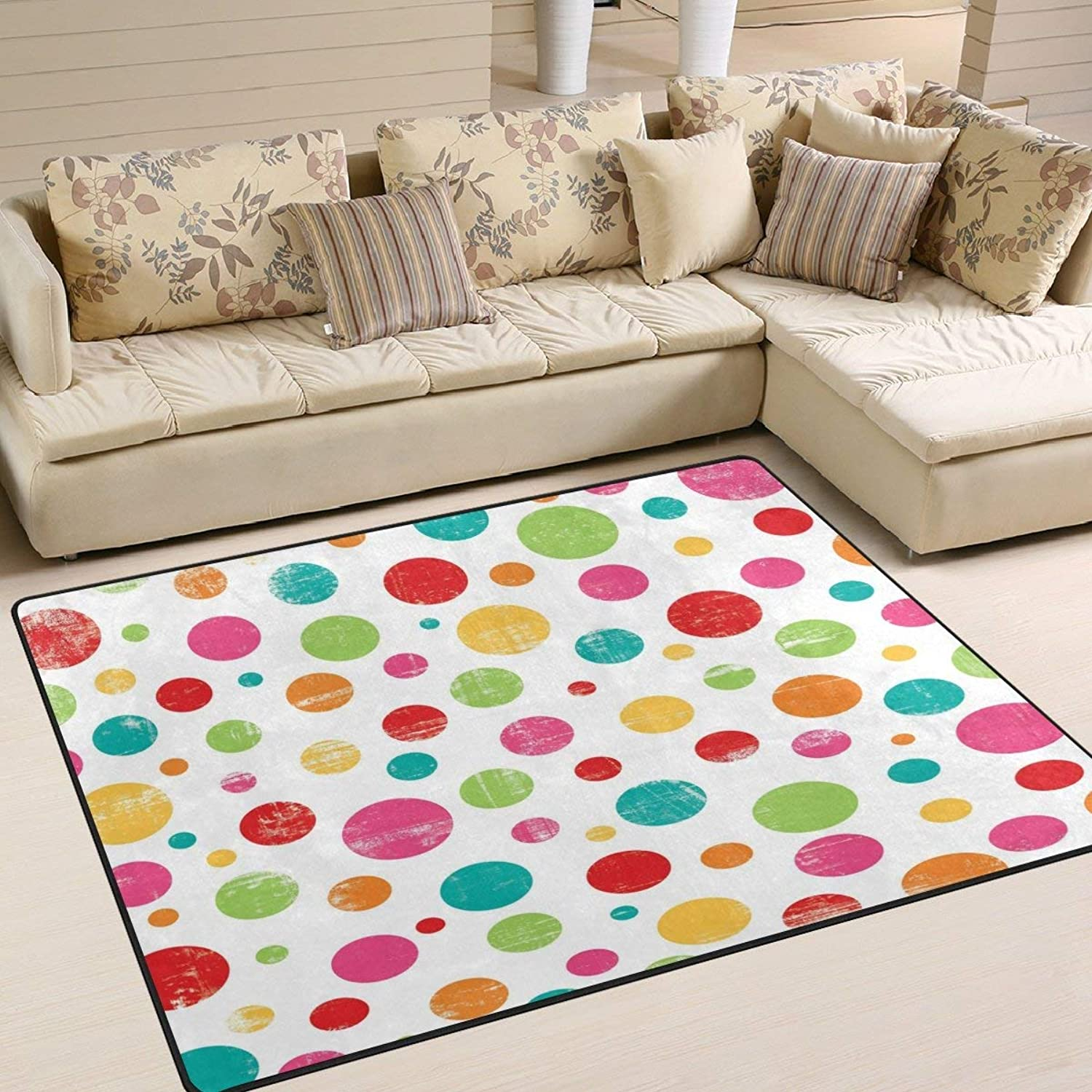 Vintage colorful Polka Dot Mat for Floor Mat Rug Indoor Front Door Kitchen and Living Room Bedroom Mats Rubber Non Slip