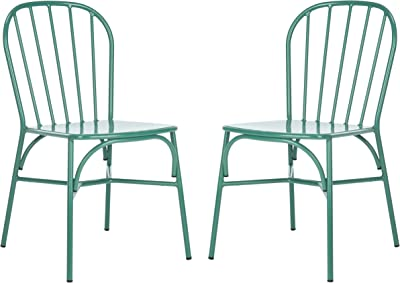Safavieh PAT3002E-SET2 Outdoor Everleigh Matte Olive Green Stackable Spindle Back (Set of 2) Side Chair