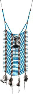 Novum Crafts | Indian Style Choker | Native American Style Breastplate Necklace Blue