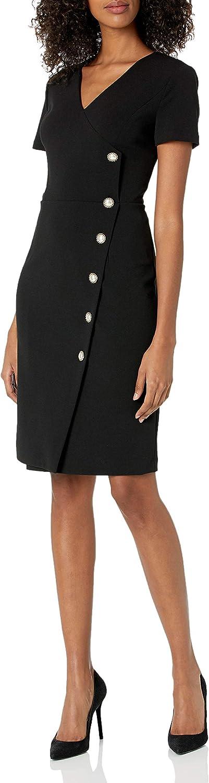 Karl Lagerfeld Paris Dresses Women's Crepe V Neck Pearl Button Sheath