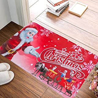 HYYXL Christmas Doormat Xmas Santa Claus Print Entry Way Indoor Floor Mats Anti-Skip Rugs Carpets for Kitchen Living Room Bedroom Bathroom