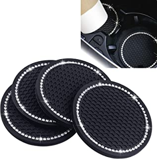 4 Pack Car Coasters, 2.75 Inch Bling Car Cup Holder Coaster, Anti Slip Universal Soft Rubber Pad Set Car Interior Accessories for Women and Men (Black)