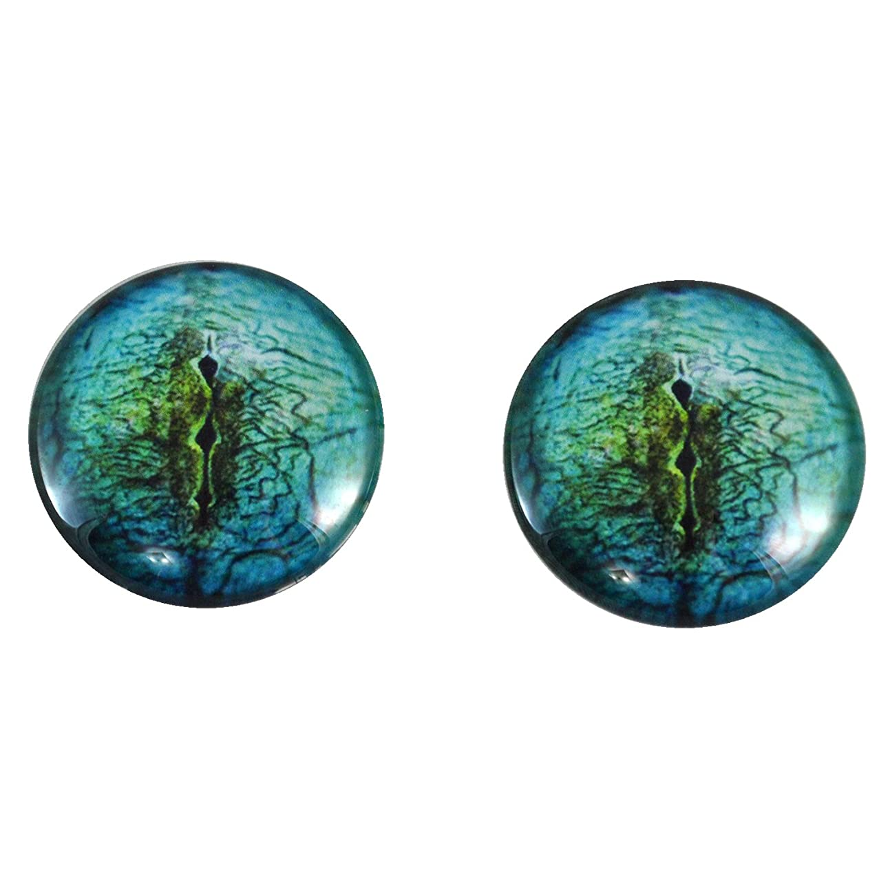 40mm Pair of LargeBlue Lizard Glass Eyes, for Jewelry making, Arts Dolls, Sculptures, and More