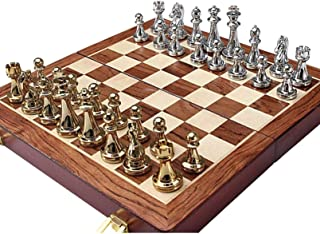 Chess,12 Inches Metal Travel Chess Set with Portable/Foldable Chessboard Handcrafted Chess Pieces Complete Fide Entertainment