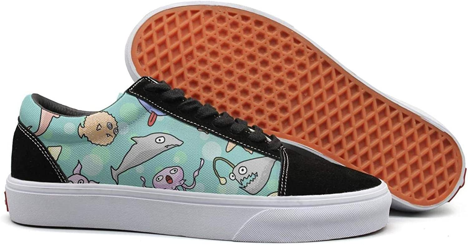 Winging Womens Cute Fish Seahorse Squid Shark Fashionable Suede Casual shoes Old Skool Sneakers