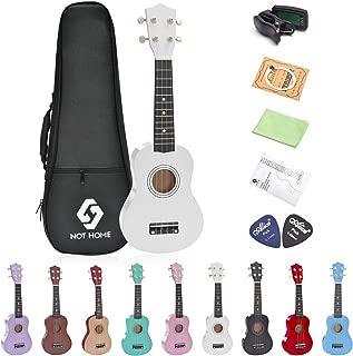 Soprano Ukulele Beginner Pack, 21 Inch Basswood kids Ukuleles Starter Kit with Gig Bag Digital Tuner Spare Strings and Picks. (white)