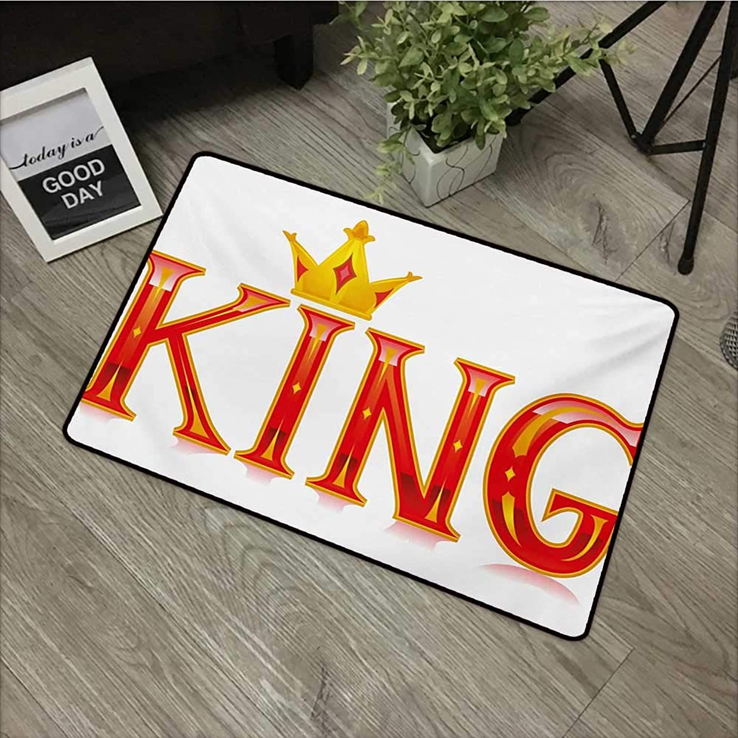 Interior mat W35 x L59 INCH King,Royal King Quote in Capital Lettering with Crown and Diamond Shapes on White,Vermilion and Yellow Non-Slip, with Non-Slip Backing,Non-Slip Door Mat Carpet