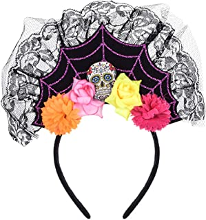 Love Sweety Halloween Spider Skull Headband Frida Kahlo Day of The Dead Costume Headpiece