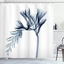 Ambesonne Flower Shower Curtain, X-ray Illustration of a Flower Blossom Unique Minimalistic Art, Cloth Fabric Bathroom Decor Set with Hooks, 84 Long Extra, White Teal