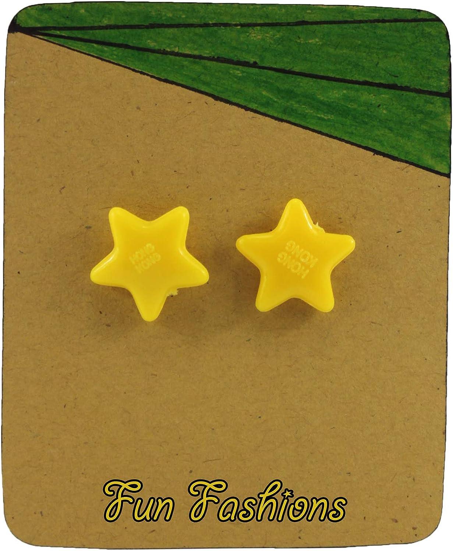 Yellow Star Pretend Clip on Earrings