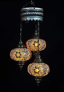 Lámpara oriental, araña turca, 3 esferas, color marrón