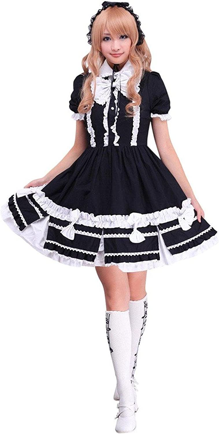 Cemavin Cotton Black Short Sleeves Classic Lolita Dress