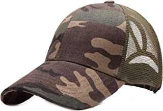 New Ponytail Baseball Cap Summer Hats for Women Messy Bun Baseball Hat Camouflage Breathable Mesh,56cmto6