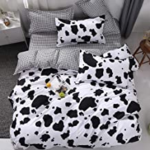Vefadisa Cow Comforter Sets Twin with 1 Comforter Cover 1 or 2 Pillow Covers 1 Flat Sheet-3 or 4pcs with Print Pattern Animal Duvet Set Quilt Bedding Set for Childs