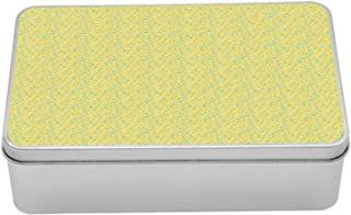 Lunarable Butter Yellow Tin Box, Abstract Pattern of Continuous Leaves Modern Design Botany, Portable Rectangle Metal Organizer Storage Box with Lid, 7.2