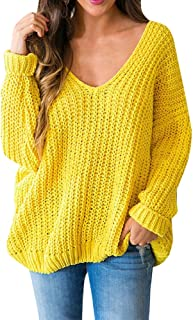 Farktop Womens Sweaters Pullover Oversized Off The Shoulder V Neck Knit Jumper Tops