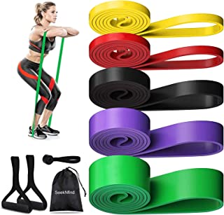 Risefit Resistance Bands Set Assist Pull Up Bands Long Loop Bands Workout for Stretching, Powerlifting,Yoga,Training with Handles,Door Anchor,Carry Bag Home Gym Exercise Workout Band for Men Women