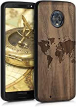 kwmobile Wooden Case for Motorola Moto G6 - Hard Case with TPU Bumper - Travel Outline, Walnut