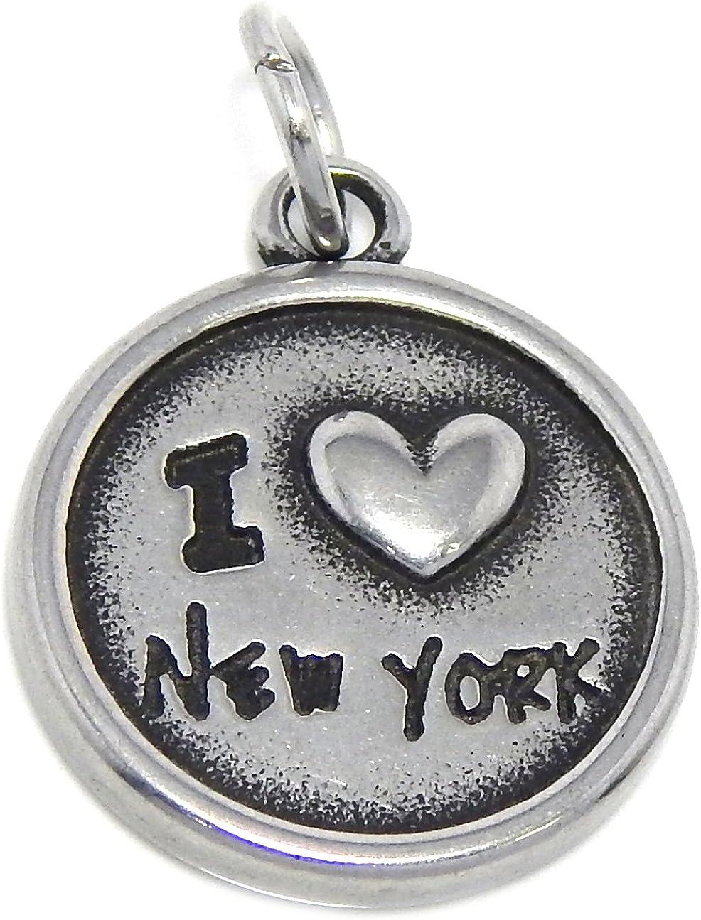GemStorm Stainless Steel Dangling I Love New York/American Flag Plaque Message Charm for Bracelet