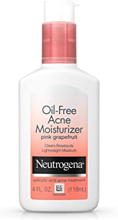 Neutrogena Oil Free Acne Facial Moisturizer with Salicylic Acid Acne Treatment Medicine, Pink Grapefruit Acne Fighting Face Lotion with Salicylic Acid to Treat Breakouts, Non Comedogenic, 4 fl. Oz