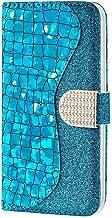 Ttimao Kompatibel mit Samsung Galaxy A51 Hülle Prämie Glitzer PU Leder Portemonnaie Flip Case Magnetverschluss Kartenfach Standfunktion Stoßfest Schutzhülle-Blau