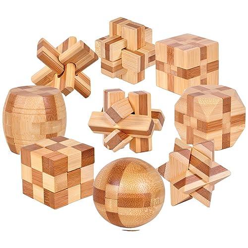 Gracelaza Casse-Tête en Bois Set 9 Pièces - Jouet de Puzzle en Bois - 3D Puzzle en Bois - Jouets et Cadeaux Idéaux pour des Enfants et des Adolescents