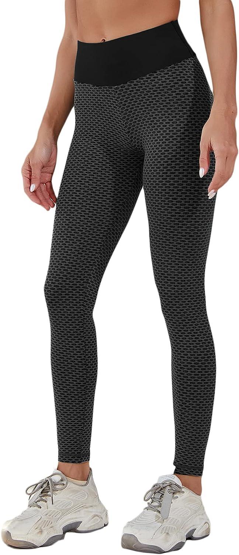 Verdusa Women's High Waist Leggings Tummy Control Running Workout Yoga Pants