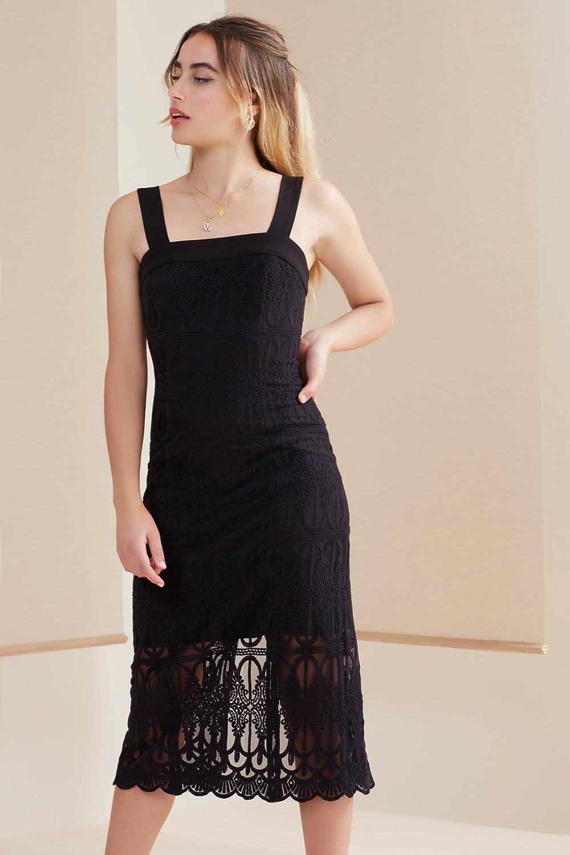 FindersKEEPERS Women's Midnight Lace Long Sleeve V Neck Bodysuit, Dark Black, S