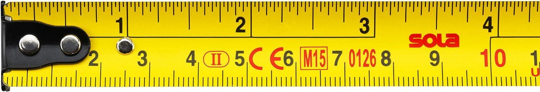 3m // 16mm SOLA Bandma/ß Rollmeter mit beweglichem Endhaken COMPACT ME L/änge 3m//16mm Genauigkeitsklasse II Stahlband Taschenbandma/ß mit G/ürtelclip gelb lackiert mit mm//inch Skala